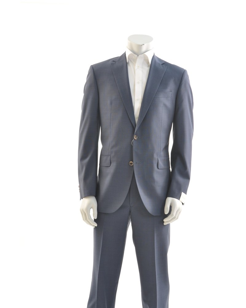 JACK VICTOR Modern Fit Mid Blue Tan Buttons Suit