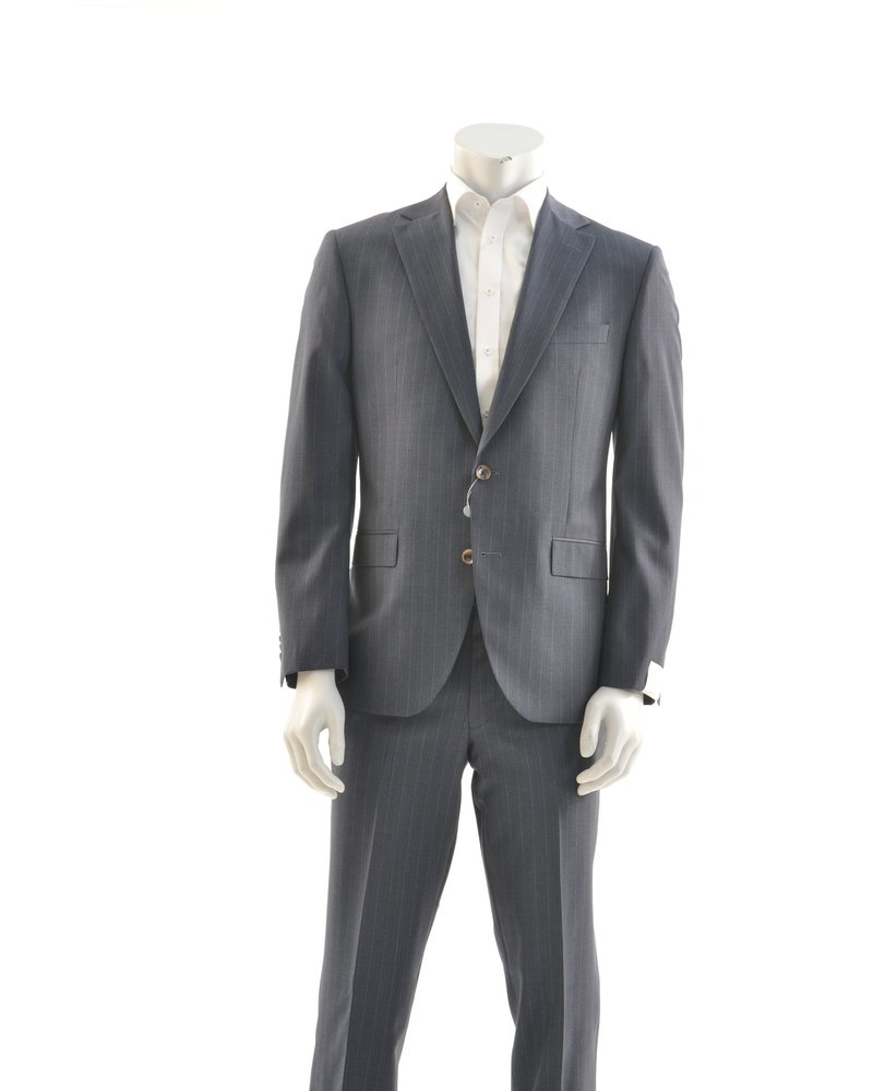 JACK VICTOR Modern Fit Mid Blue Pin Stripe Suit