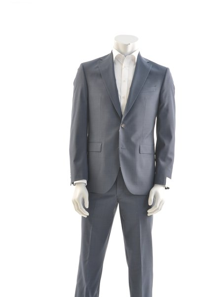 JACK VICTOR Modern Fit Mid Blue Neat Pattern Suit