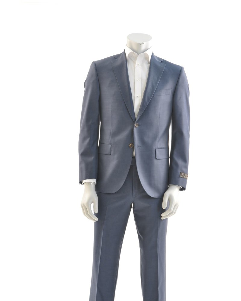 JACK VICTOR Modern Fit Blue on Blue Windowpane Suit