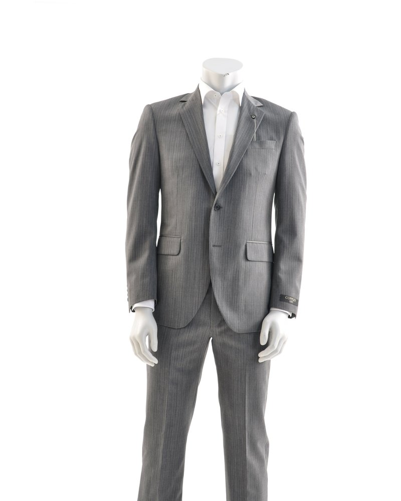 COPPLEY Modern Fit Grey with Tight Brown Stripe Suit
