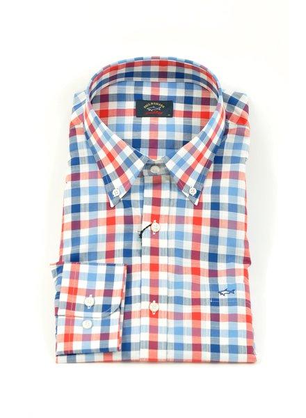PAUL & SHARK Classic Fit Red Navy White Big Gingham Shirt
