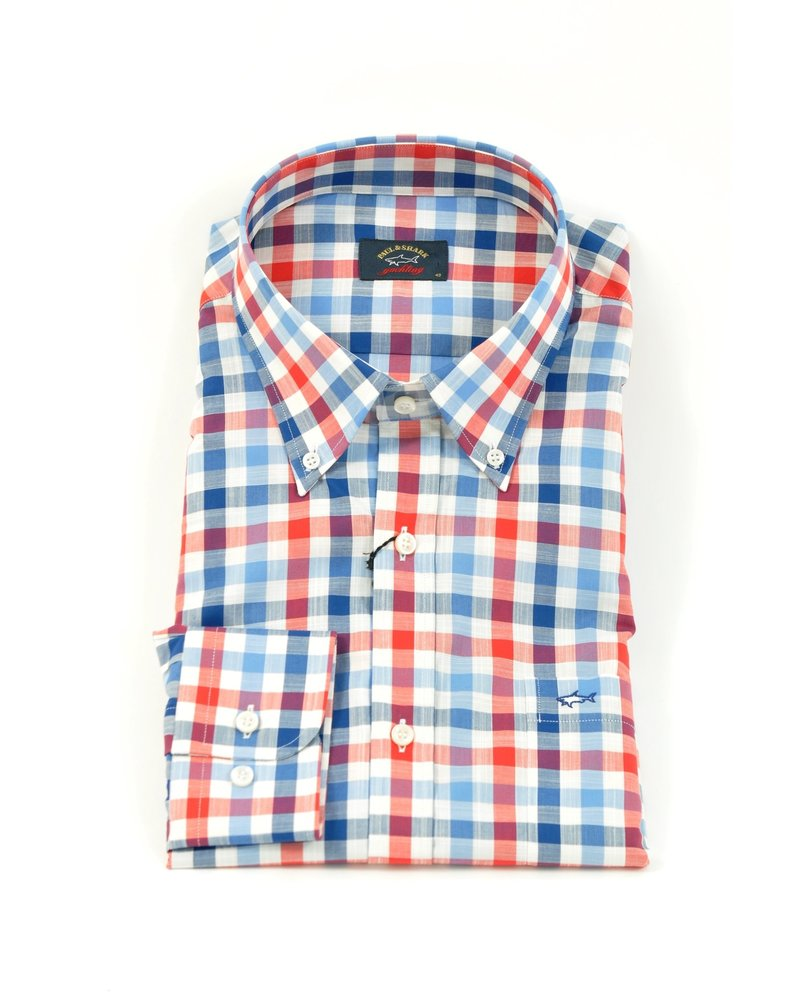 PAUL & SHARK Classic Fit Red Navy White Big Gingham Shirt