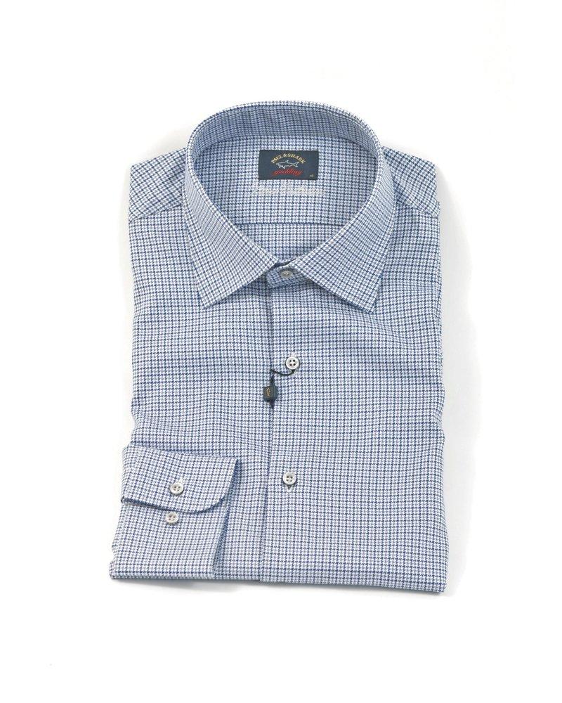 PAUL & SHARK Classic Fit Blue Houndstooth Shirt