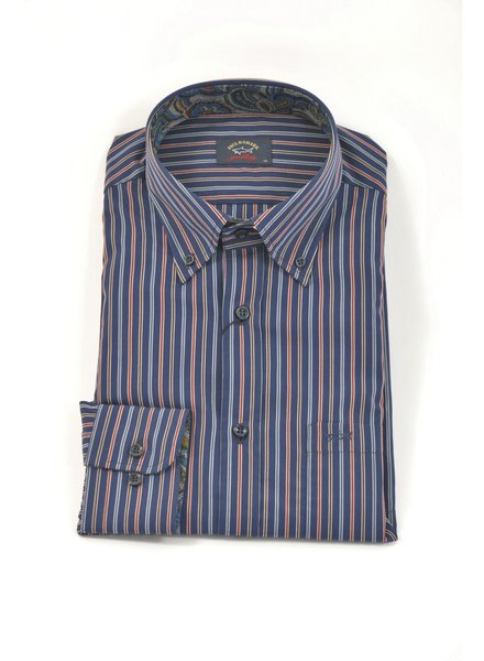 PAUL & SHARK Classic Fit Navy Multi Colour Stripe Shirt