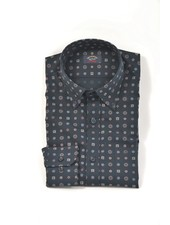 PAUL & SHARK Classic Fit Navy Geometric Print Shirt