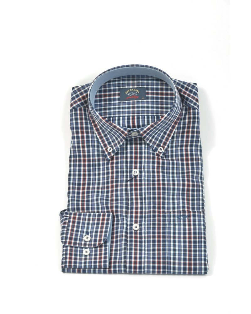 PAUL & SHARK Classic Fit Navy Red Small Check Shirt