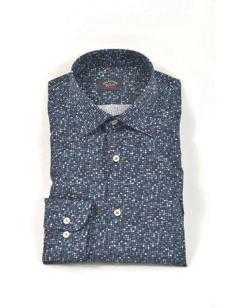 PAUL & SHARK Classic Fit Navy Small Multi Blocks Shirt