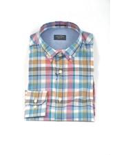 PAUL & SHARK Classic Fit Pink Orange Check Shirt