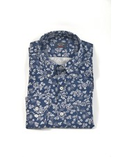 PAUL & SHARK Classic Fit Navy Floral Print Shirt