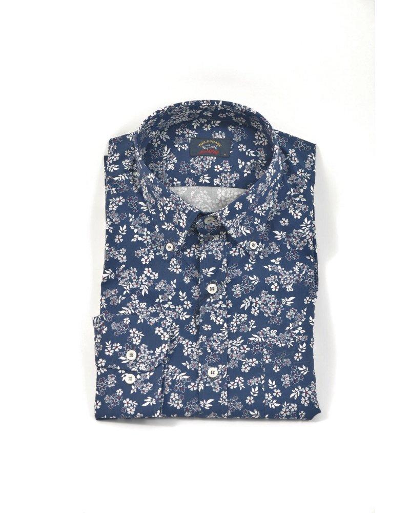 PAUL & SHARK Classic Fit Navy Floral Print Shirt