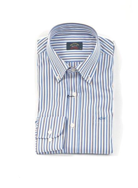 PAUL & SHARK Classic Fit Blue & Tan Stripe Shirt