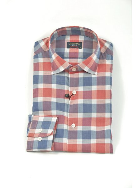 PAUL & SHARK Classic Fit Blue Coral Block Check Shirt