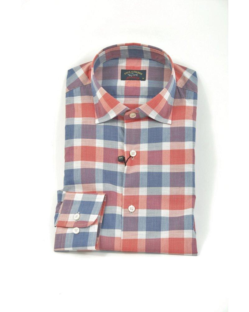 PAUL & SHARK Classic Fit Blue Coral Block Check Shirt