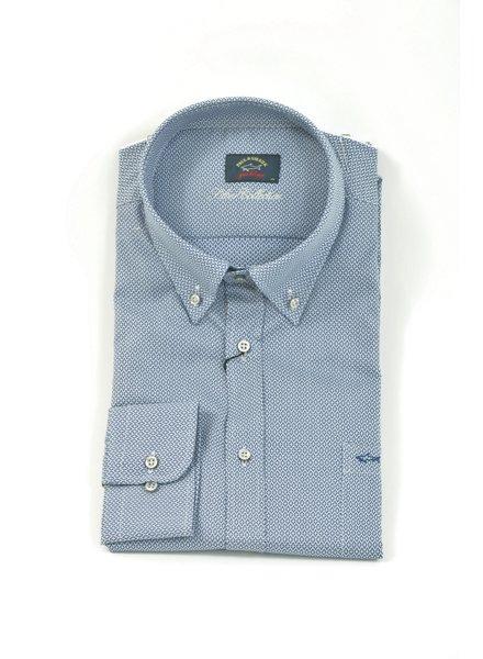PAUL & SHARK Classic Fit Mid Blue with Mosaic Print Shirt