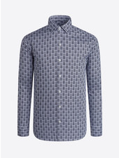 BUGATCHI UOMO Modern Fit Black Block Pattern Shirt