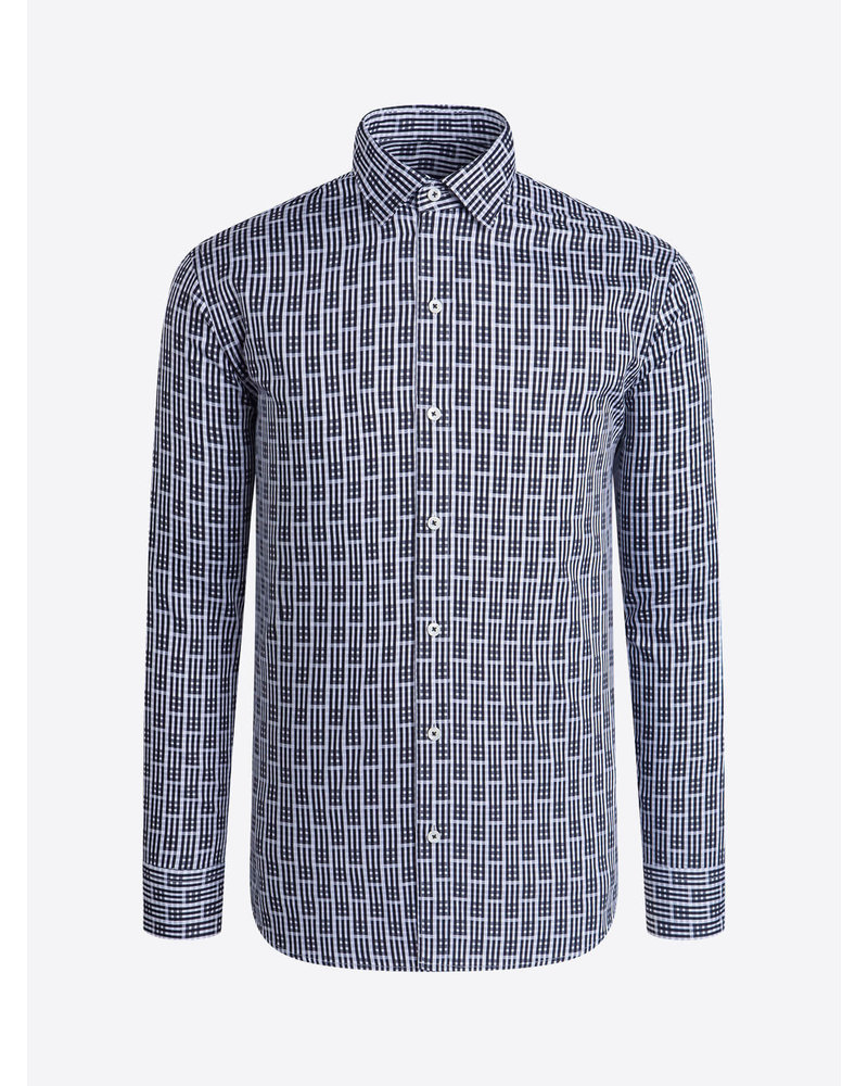 BUGATCHI UOMO Modern Fit Black Block Pattern Shirt