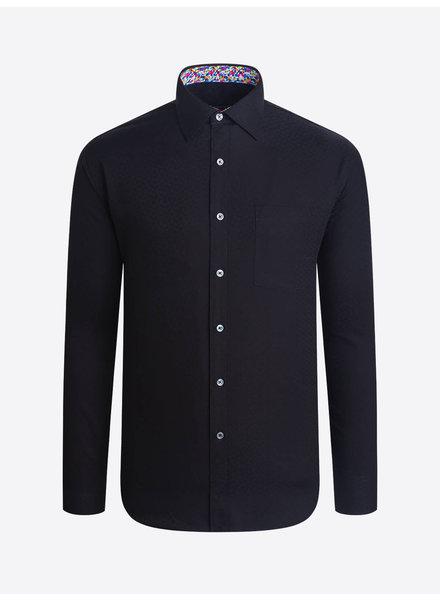 BUGATCHI UOMO Modern Fit Black Tonal Circle Shirt