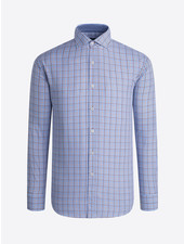BUGATCHI UOMO Modern Fit Blue Brown Plaid Shirt