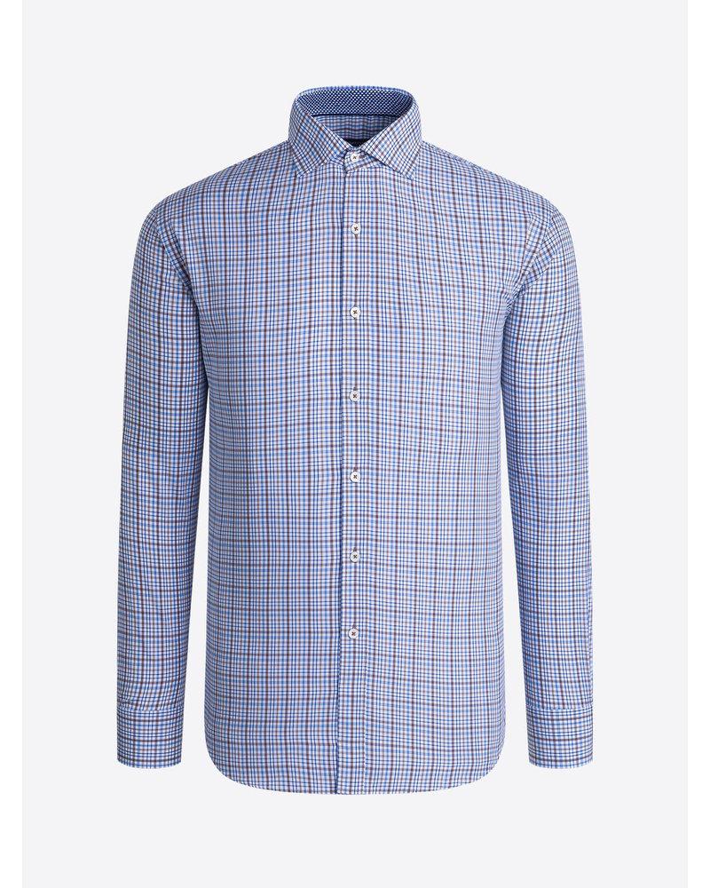BUGATCHI UOMO Modern Fit Blue Brown Plaid Shirt