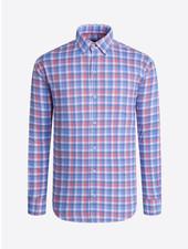 BUGATCHI UOMO Modern Fit Blue Red Block Shirt