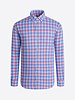 BUGATCHI UOMO Modern Fit Blue Red Block Shirt