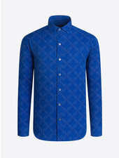 BUGATCHI UOMO Modern Fit Blue Spiral Pattern Shirt
