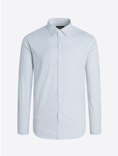 BUGATCHI UOMO Modern Fit White Blue Block LS Shirt