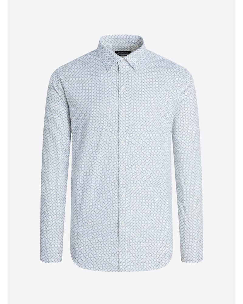 BUGATCHI UOMO Modern Fit White Blue Block LS Shirt