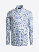 BUGATCHI UOMO Modern Fit White Blue Shirt