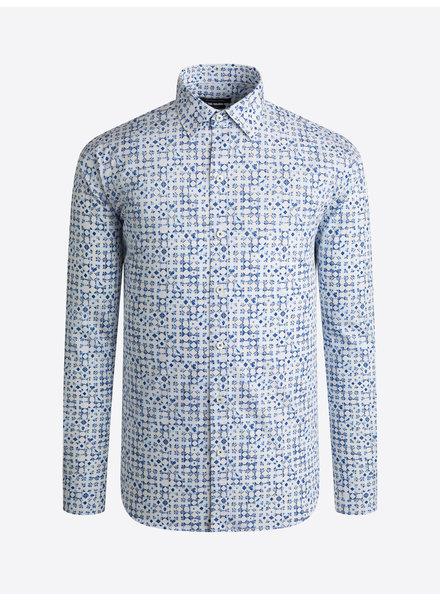 BUGATCHI UOMO Modern Fit White Blue Shirt