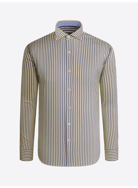 BUGATCHI UOMO Modern Fit Yellow Blue Striped Shirt
