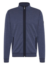 BUGATTI Blue Full Zip with Navy Piping Sweater
