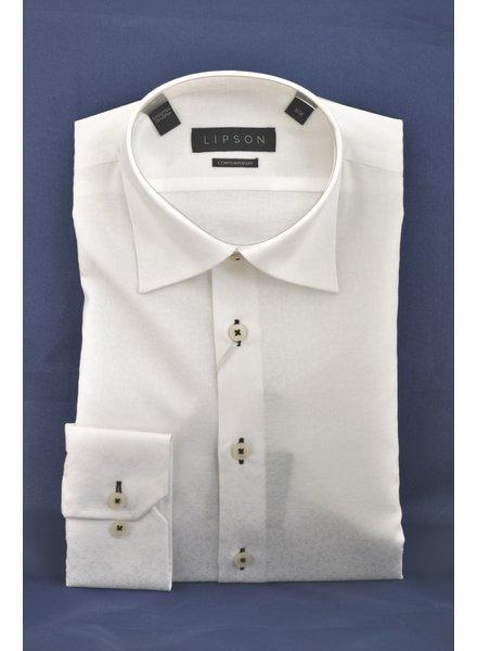 LIPSON Modern Fit White Tonal Shirt