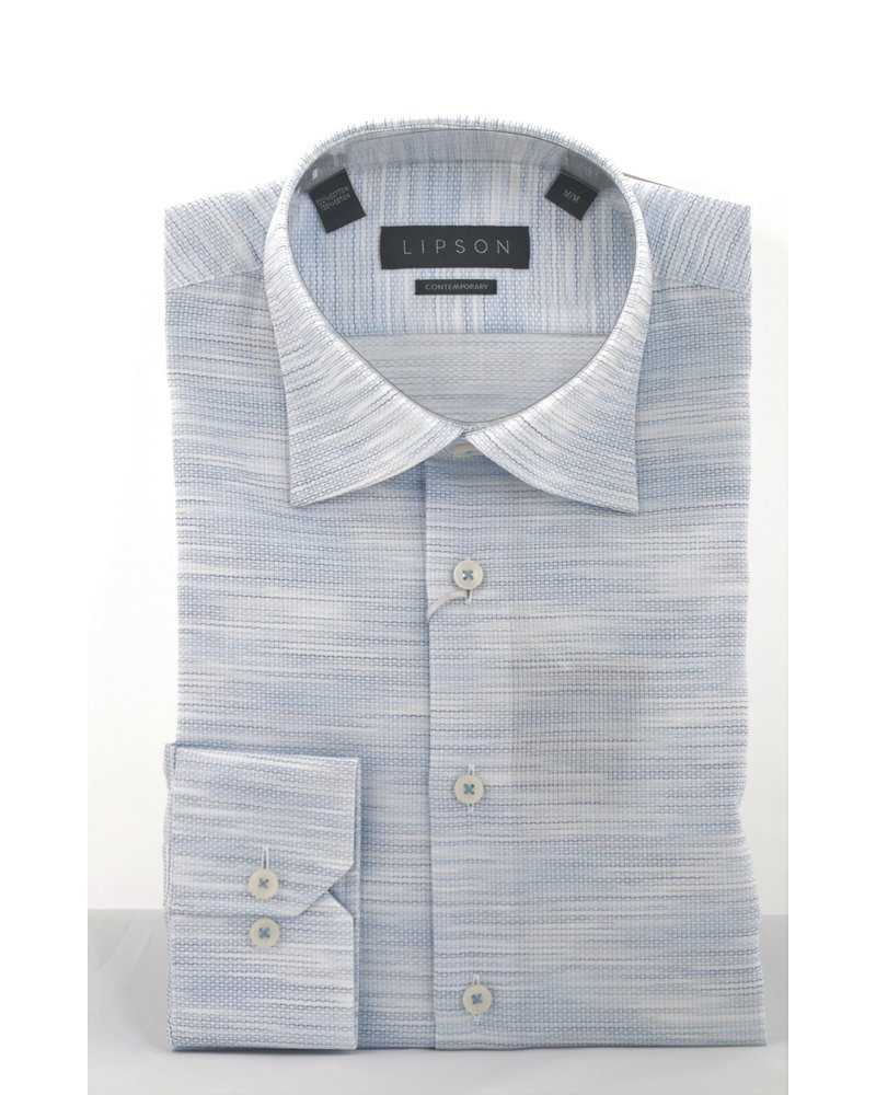 LIPSON Modern Fit Blue and White Hori Stripe Shirt