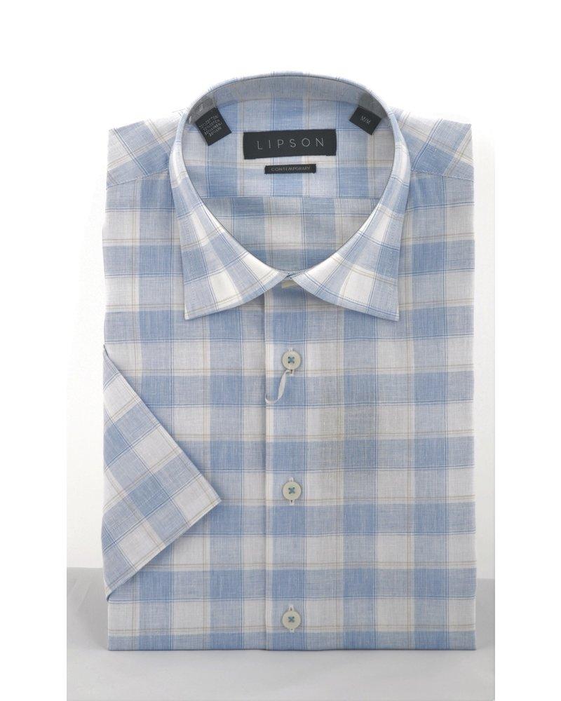 LIPSON Modern Fit Blue White Block Shirt