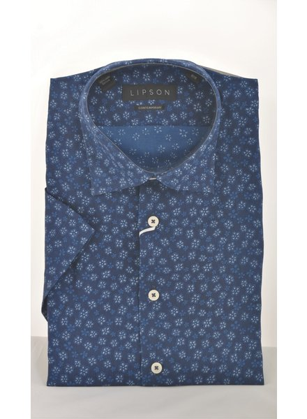 LIPSON Modern Fit Navy Daisy Shirt