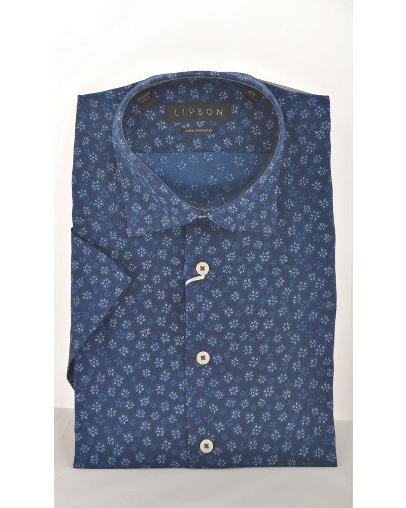 LIPSON Modern Fit Navy Daisy Shirt