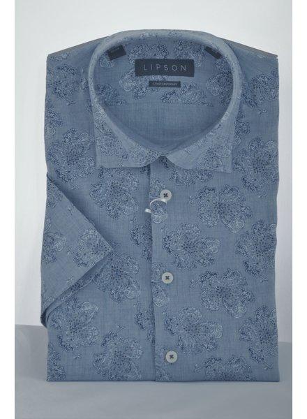 LIPSON Modern Fit Denim Blue Floral Shirt