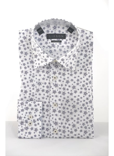 LIPSON Modern Fit White with Navy Flower Shirt