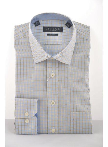 LIPSON Classic Fit Blue & Yellow Block Shirt