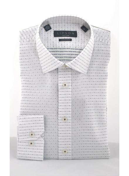 LIPSON Modern Fit White with Black Dot Shirt