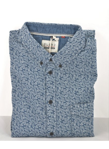 BLEND Slim Fit Blue Leaf Shirt