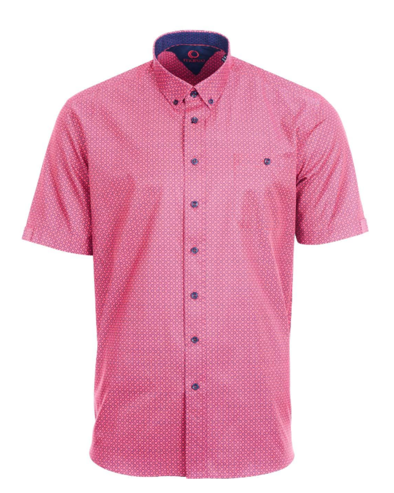 MARCO Classic Fit Red with Navy Circle Shirt