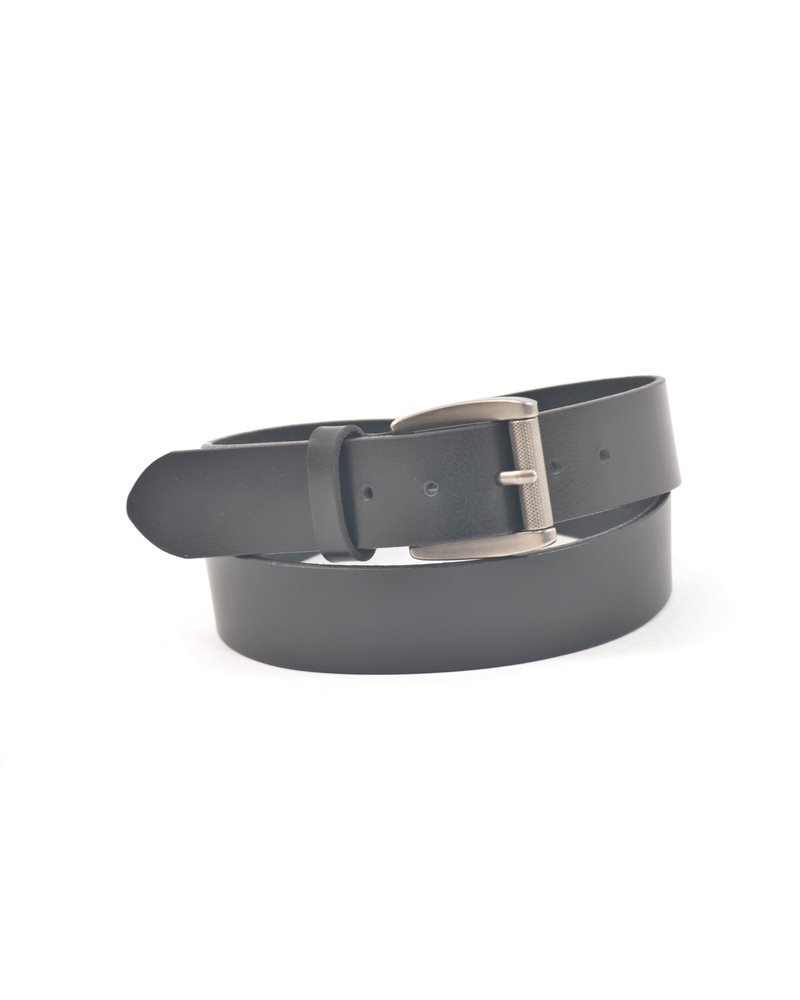 BENCHCRAFT Black Oiled Harness Roller Buckle Belt