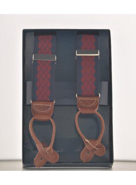 BENCHCRAFT Red Navy Leather Strap Suspender