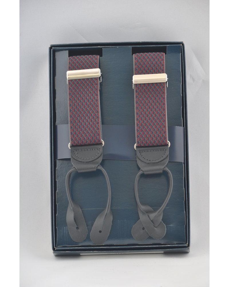 BENCHCRAFT Burgundy Navy Leather Strap Suspender