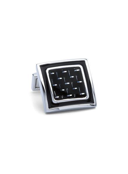 BUGATCHI UOMO Silver Black Cufflinks
