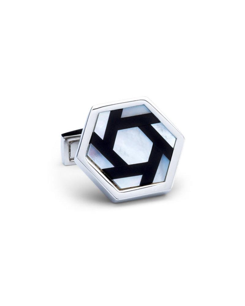 BUGATCHI UOMO Silver Black Hexagon Cufflink