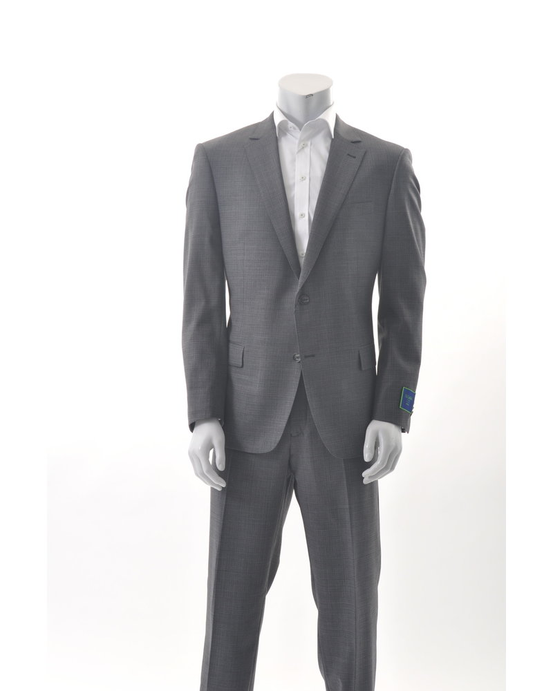 S COHEN Classic Fit Grey Brown Basketweave Suit